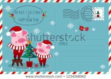 Szczęśliwego nowego roku pocztówkę wieprzowych Święty mikołaj kostium Zdjęcia stock © robuart