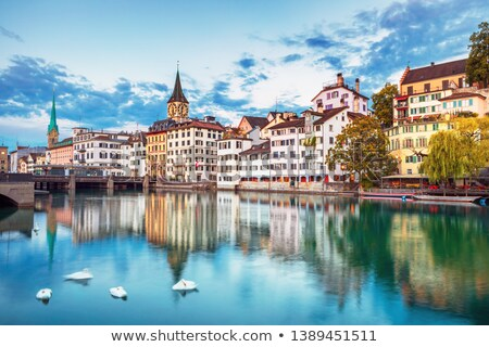 Zurich · idyllique · bord · de · l'eau · vue - photo stock © xbrchx