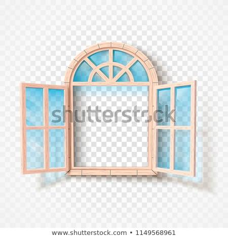 Stockfoto: Open · venster · geïsoleerd · houten · frame · glas · vector