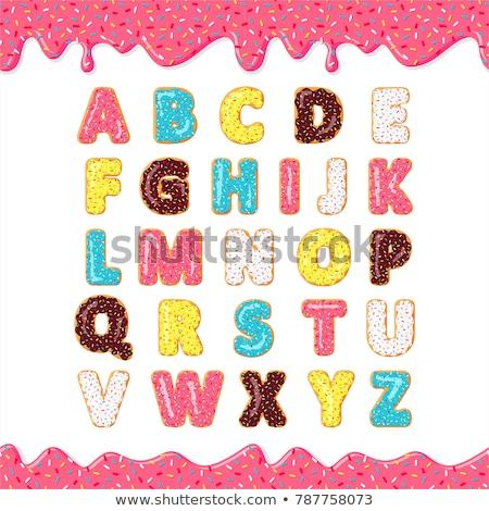 Foto stock: Bolinhos · colorido · conjunto · alfabeto · números · isolado
