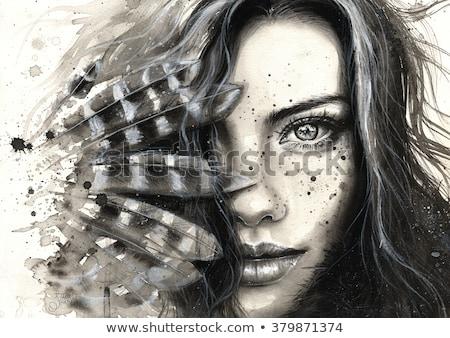創造 インク 黒白 女性 芸術 ストックフォト © bonnie_cocos