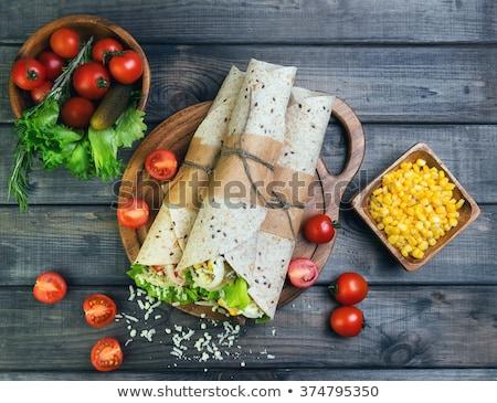 Edény friss kukorica magvak szürke asztal Stock fotó © mizar_21984