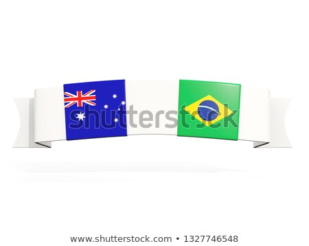 Banner with two square flags of Australia and brazil Stock photo © MikhailMishchenko