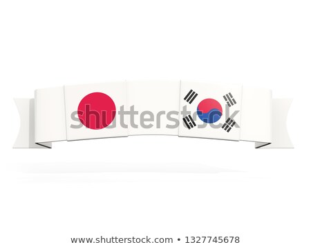 Bandeira dois praça bandeiras Japão Coréia do Sul Foto stock © MikhailMishchenko