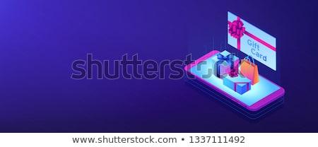 Digitális ajándékkártya izometrikus 3D szalag fejléc Stock fotó © RAStudio