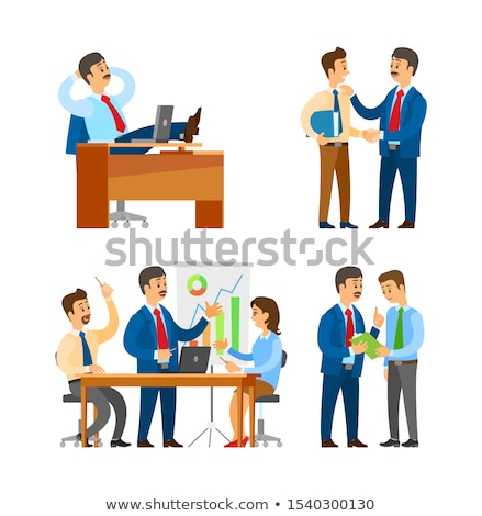 Boss Praising Worker, Seminar Team Brainstorming Stock photo © robuart