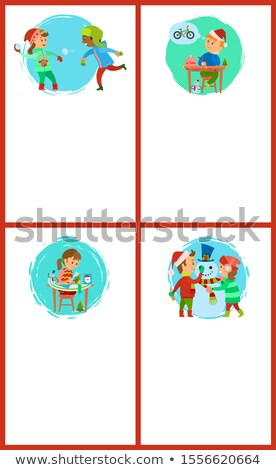 Snowball Fight of Children, Boy Writing Letter Stock photo © robuart