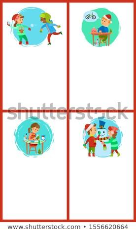 kinderen · sneeuwpop · meisje · jongen - stockfoto © robuart