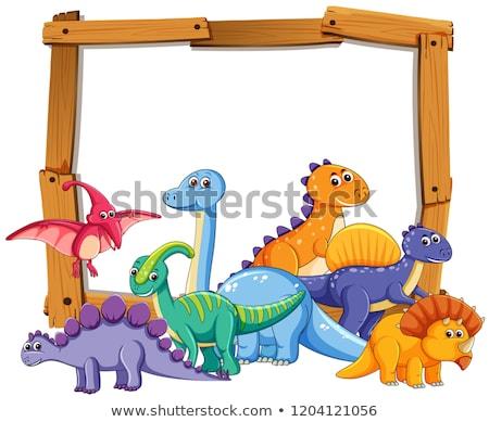 Verschillend dinosaurus houten frame illustratie hout ei Stockfoto © colematt