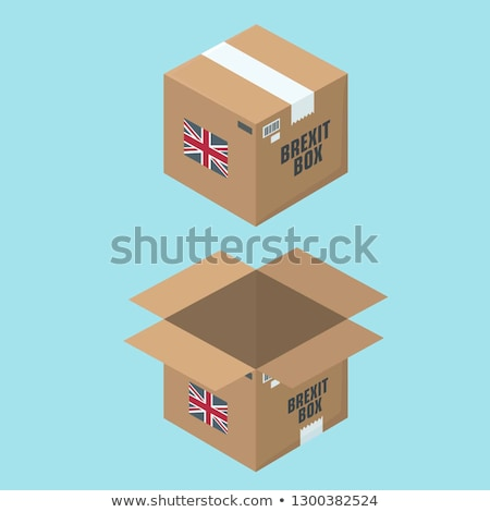 Сток-фото: Paper Flag Of Britain And A Cardboard Box With A Sign Of The Eu And Different Flags On A Green Backg
