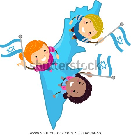 Stickman Kids Israel Map Flags Illustration Stock photo © lenm