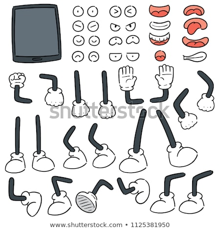 vector set of smart phone, cartoon arm,  leg, mouth and eyes stock photo © olllikeballoon