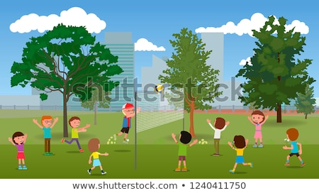 Foto stock: Kids Playing Volleyball in Park Cartoon Banner