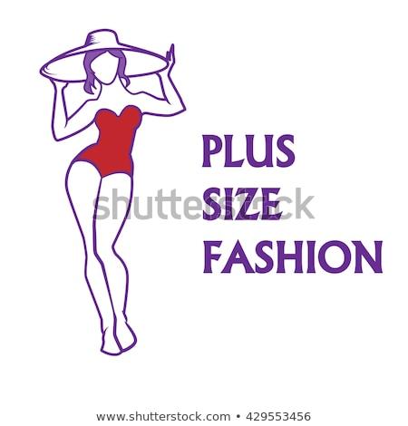 Summer vacation banner of curvy women at beach Stock photo © cienpies