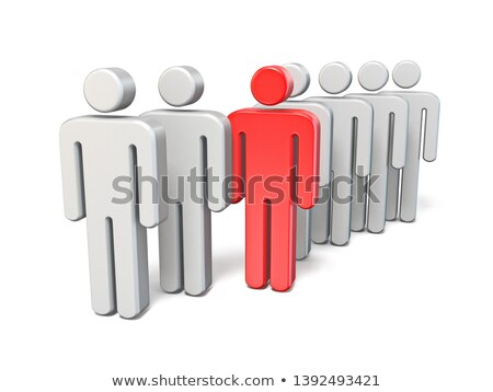 Red rebel man in line of same people 3D Stock photo © djmilic