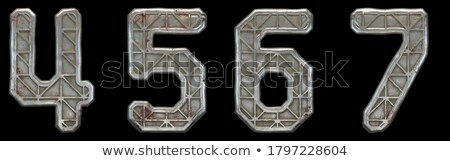 rusty metal font number 6 six 3d stock photo © djmilic
