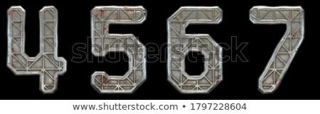 Roestige metaal doopvont aantal zes 3D Stockfoto © djmilic