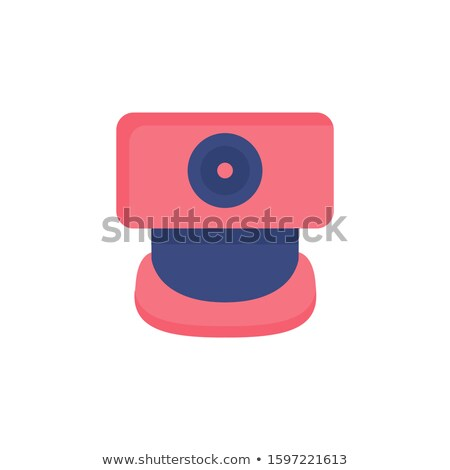 Red Video Camera Icon Over Keyboard Stock photo © AndreyPopov