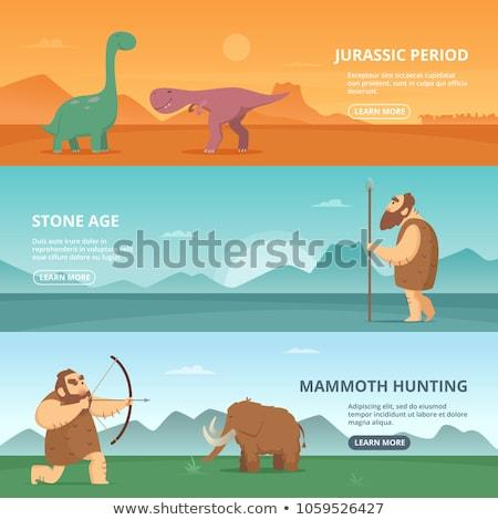 Banner template with jurassic world of dinosaurs Stock photo © colematt