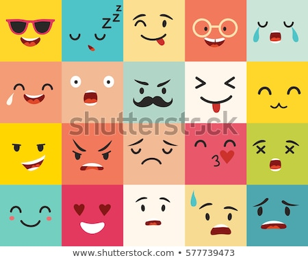 vector · iconos · caras · blanco · sonrisa - foto stock © marish