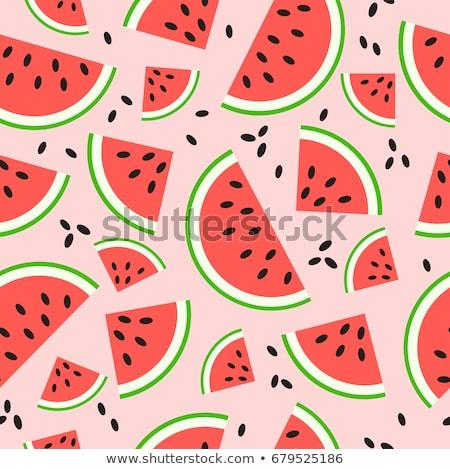 Vízfesték nyár görögdinnye szeletek gyümölcs kártya Stock fotó © balasoiu