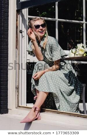 Mooie meisje straat portret cute glimlachend Stockfoto © alexaldo