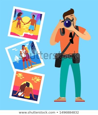 Memória cartões amantes pôr do sol Foto stock © robuart