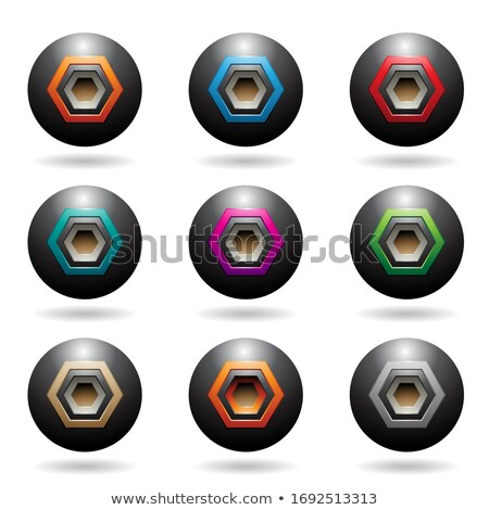black embossed sphere loudspeaker icons with hexagon shapes vect stock photo © cidepix