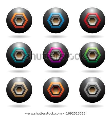 Zwarte bol luidspreker iconen zeshoek Stockfoto © cidepix