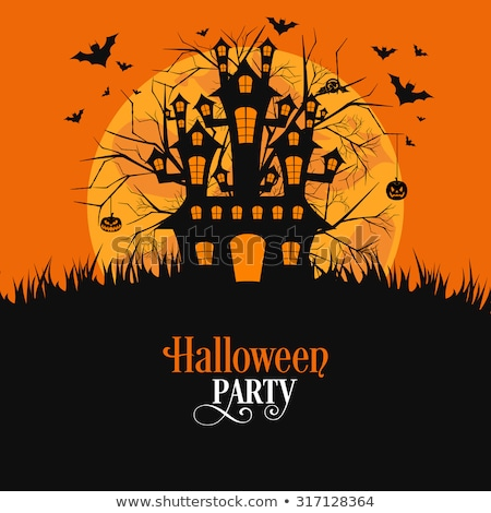 Karanlık cadı süpürge halloween karikatür kabak Stok fotoğraf © nazlisart
