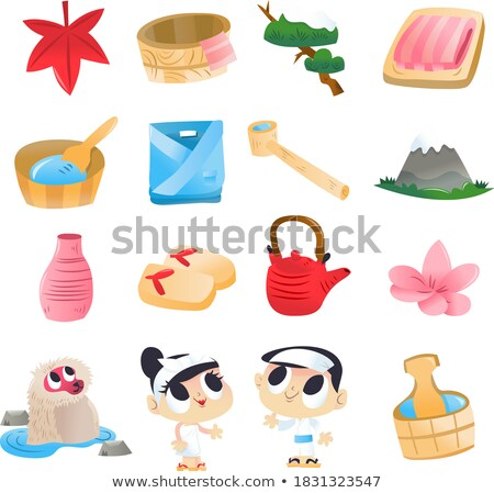 Vector character of cute monkey in onsen Stock photo © amaomam