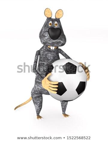 rat with soccer ball on white background. Isolated 3d illustrati Stock photo © ISerg