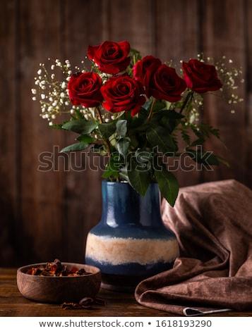 belo · rosas · vermelhas · fronteira · corações · abstrato · férias - foto stock © neirfy