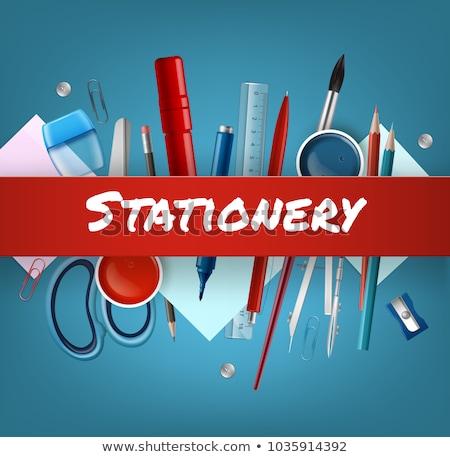 Escolas artigos de papelaria fornecer tesoura ferramenta Foto stock © robuart
