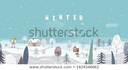 Winter card with a snowy house Stock photo © Kotenko
