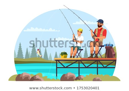 Hobby Fishing and Hiking, Male Leisure Vector Stock photo © robuart