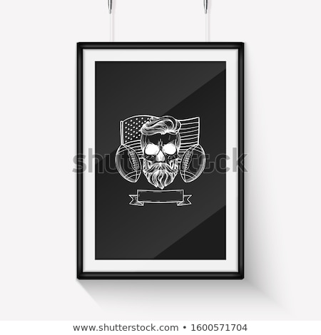 Sketch angry skull american football player Stock photo © netkov1
