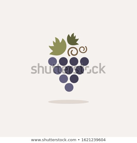 Grapes. Icon with shadow on a beige background. Fruit vector illustration Stock photo © Imaagio