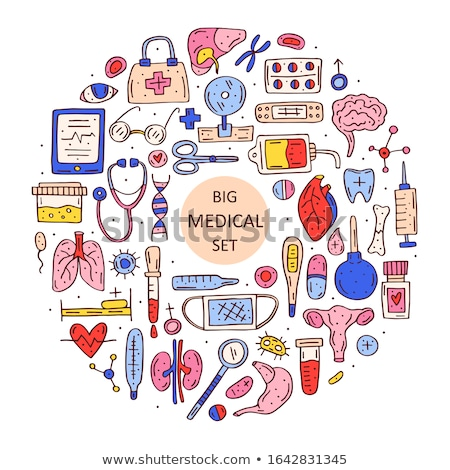Medicine equipment, organs cartoon doodle hand drawn vector illustration Stock photo © foxbiz