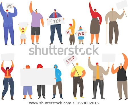 Protest And Strike Onboarding Elements Icons Set Vector Stock photo © pikepicture