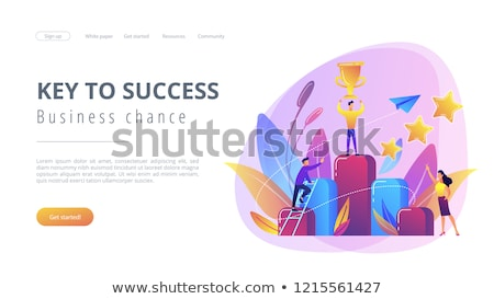 Chiave successo atterraggio pagina imprenditore Cup Foto d'archivio © RAStudio