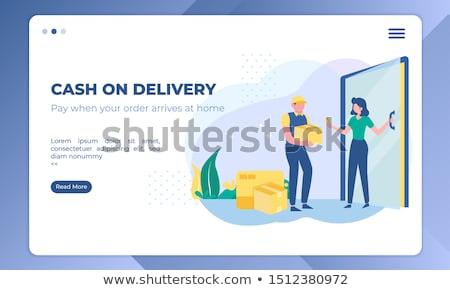 Trésorerie livraison atterrissage page paiement ensemble Photo stock © RAStudio
