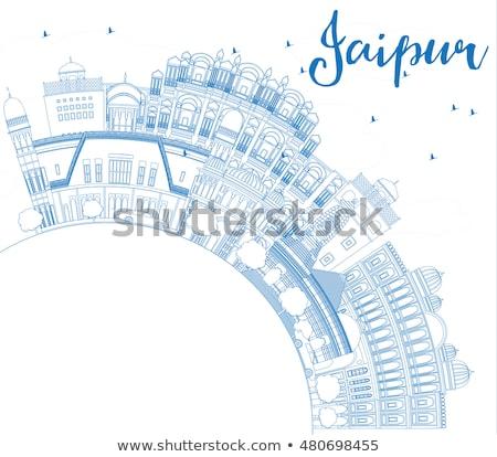 Outline Jaipur Skyline with Blue Landmarks and Copy Space. Stock photo © ShustrikS