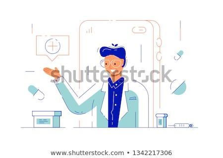 Online Consultation with Doc via Internet Vector Stock photo © robuart