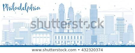 Filadélfia linha do horizonte azul edifícios Foto stock © ShustrikS