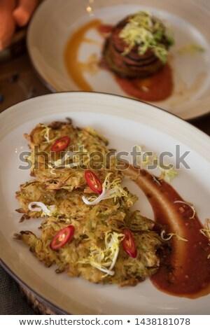 Batata vegan panquecas suco fruto legumes Foto stock © olira