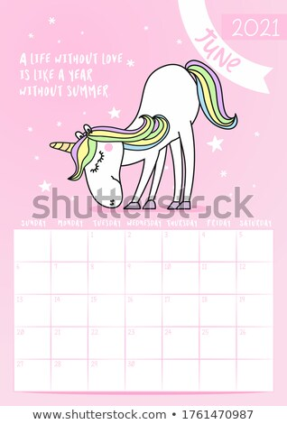 2021 June calendar with calligraphy phrase and unicorn doodle Stock photo © Zsuskaa