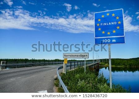 Finnország autópálya tábla zöld felhő utca felirat Stock fotó © kbuntu