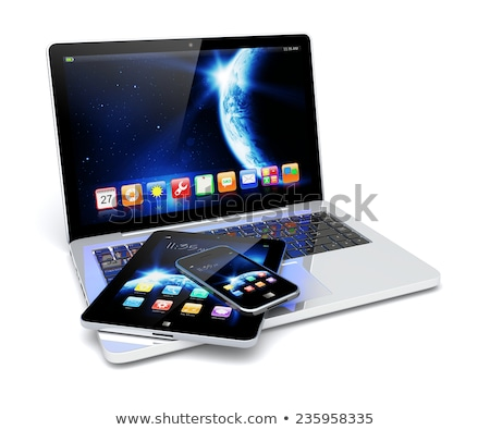 Tablet Computer with Earth view from space Stock photo © adamr