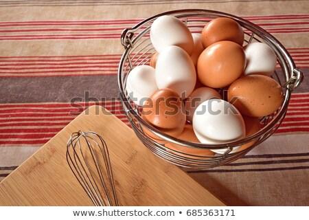 Barna tojások fém kosár közelkép közelkép Stock fotó © azamshah72